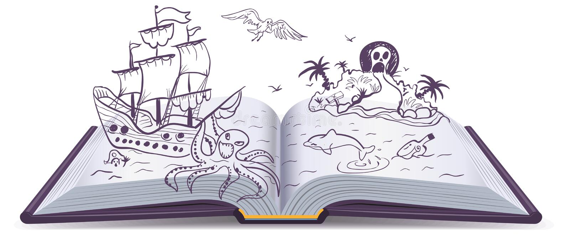 Avventura del libro aperto Tesori, pirati, navi di navigazione, avventura Fantasia della lettura illustrazione di stock