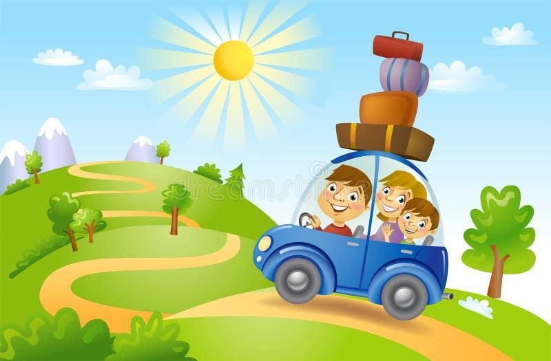 Avventura di estate della famiglia illustrazione di stock