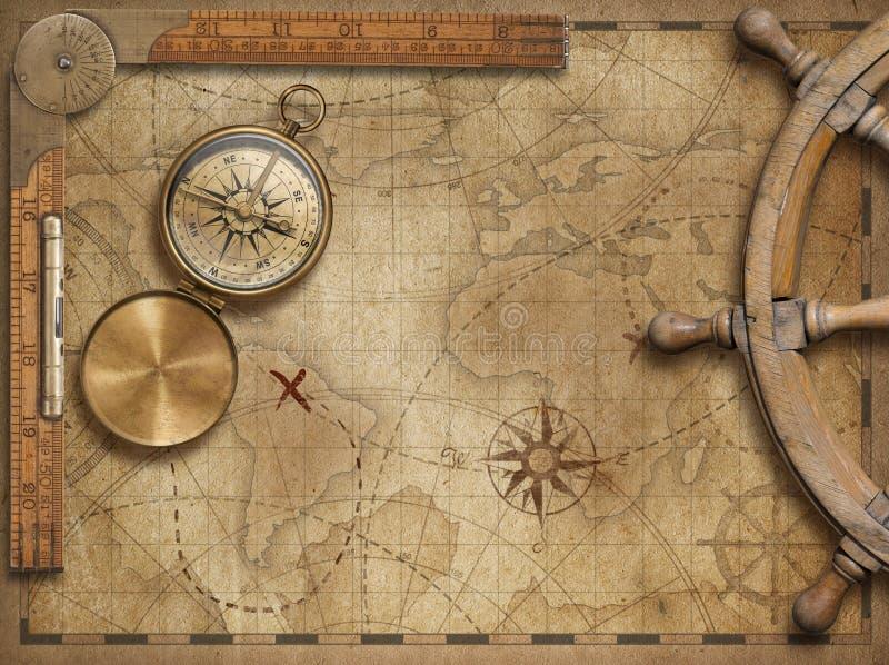 Avventuri ed esplori la natura morta di concetto con la vecchia mappa di mondo nautica illustrazione vettoriale