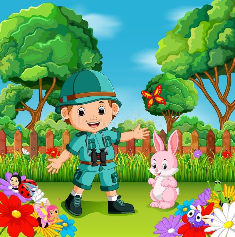 Avventuri il ragazzo sveglio con coniglio in un giardino floreale illustrazione vettoriale