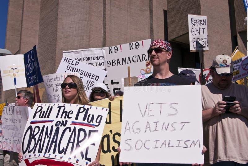 Avversari di dimostrazione di sanità di Obama immagine stock libera da diritti