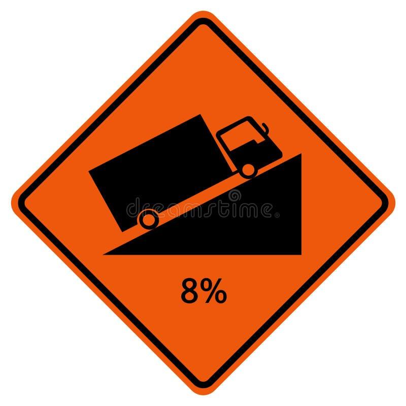 Avvertendo fino al quadrato della collina ha modellato il segnale stradale ripido di traffico di salita 8%, illustrazione di vett royalty illustrazione gratis