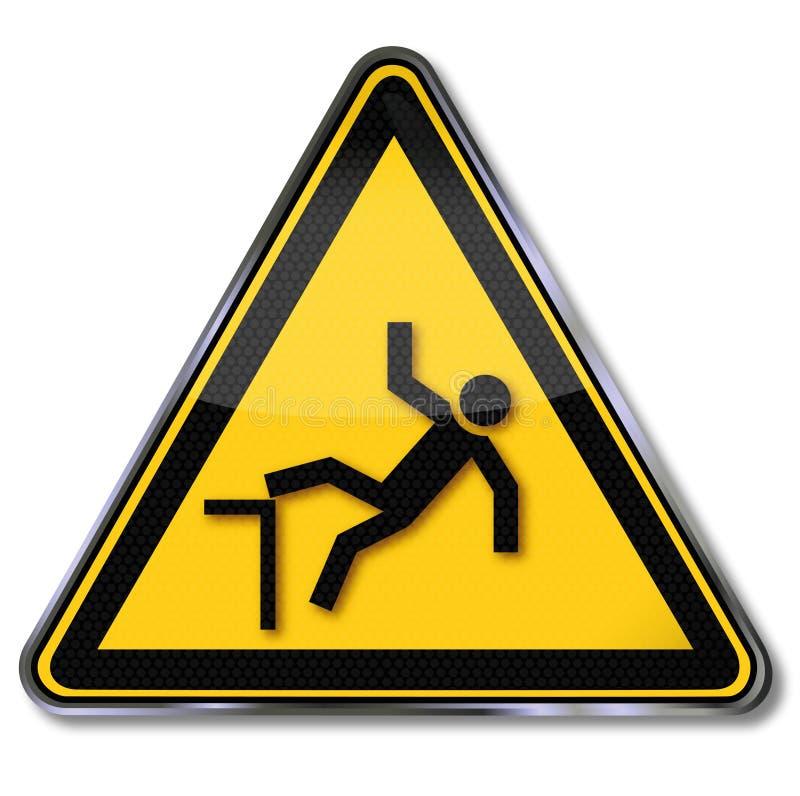 Avvertimento del rischio di cadute illustrazione vettoriale