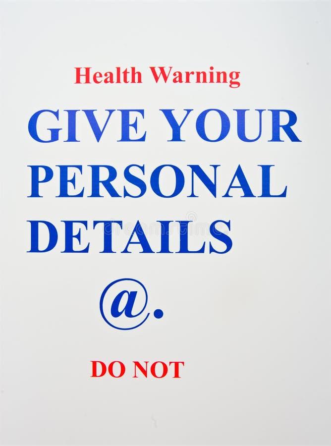Avvertimento di salute del Internet. immagini stock