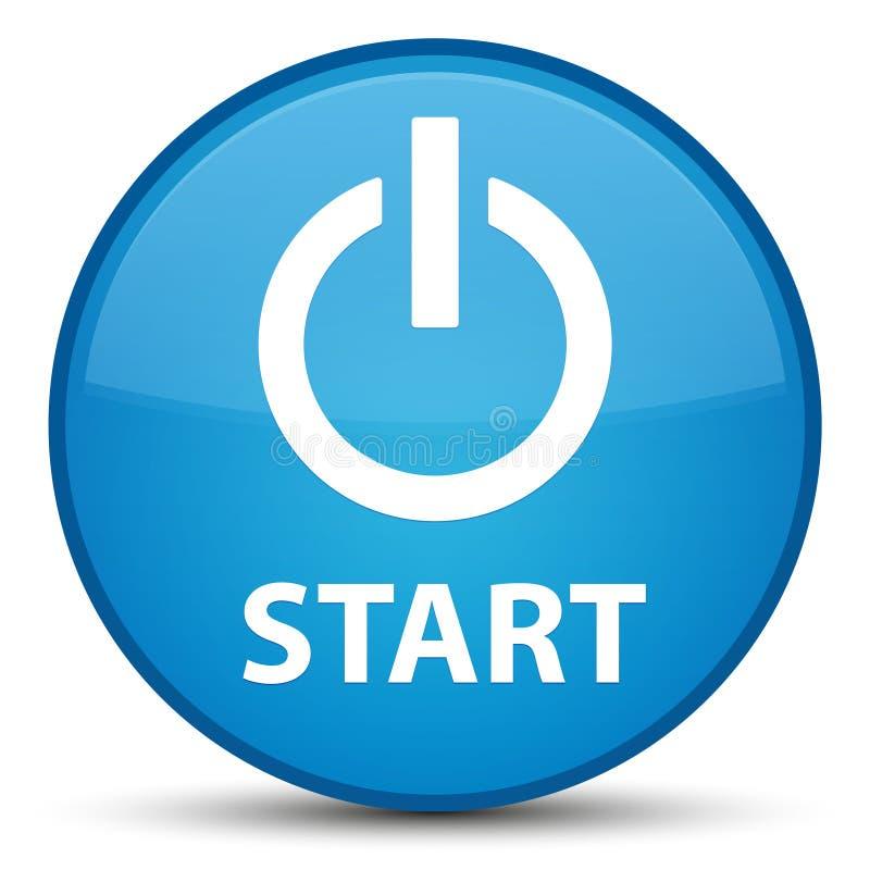 Avvii (icona di potere) il ciano bottone rotondo blu speciale illustrazione vettoriale