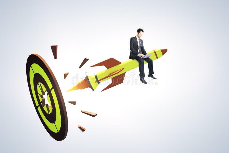 Avvii su e concetto dell'imprenditore illustrazione vettoriale