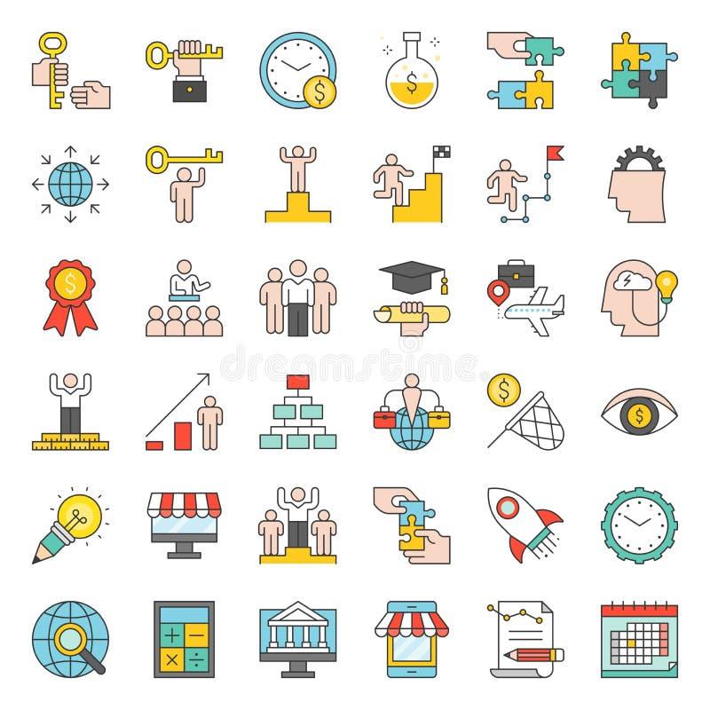 Avvii su ed icona relativa dell'imprenditore di successo quale mindset illustrazione vettoriale
