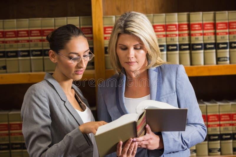 Avvocati che parlano nella biblioteca di legge immagini stock libere da diritti