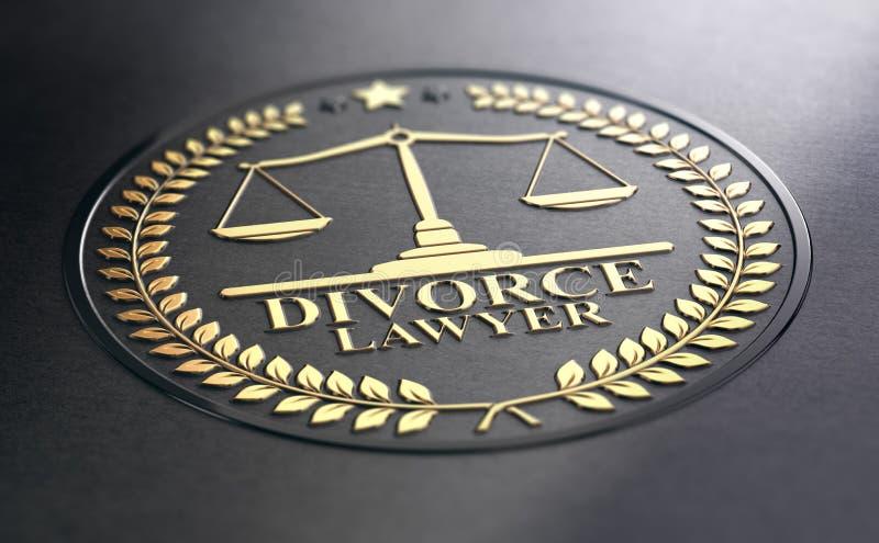 Avvocato di divorzio Over Black Background illustrazione vettoriale