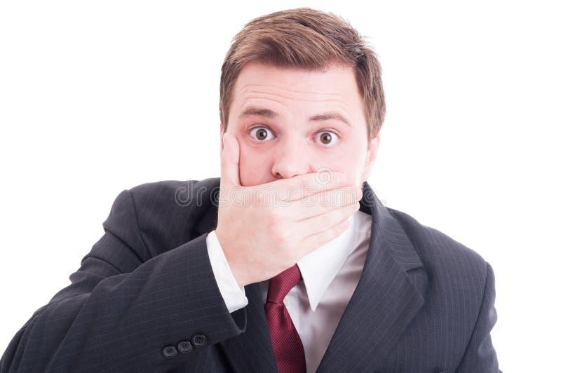 Avvocato o avvocato che copre il suo bocca immagine stock libera da diritti