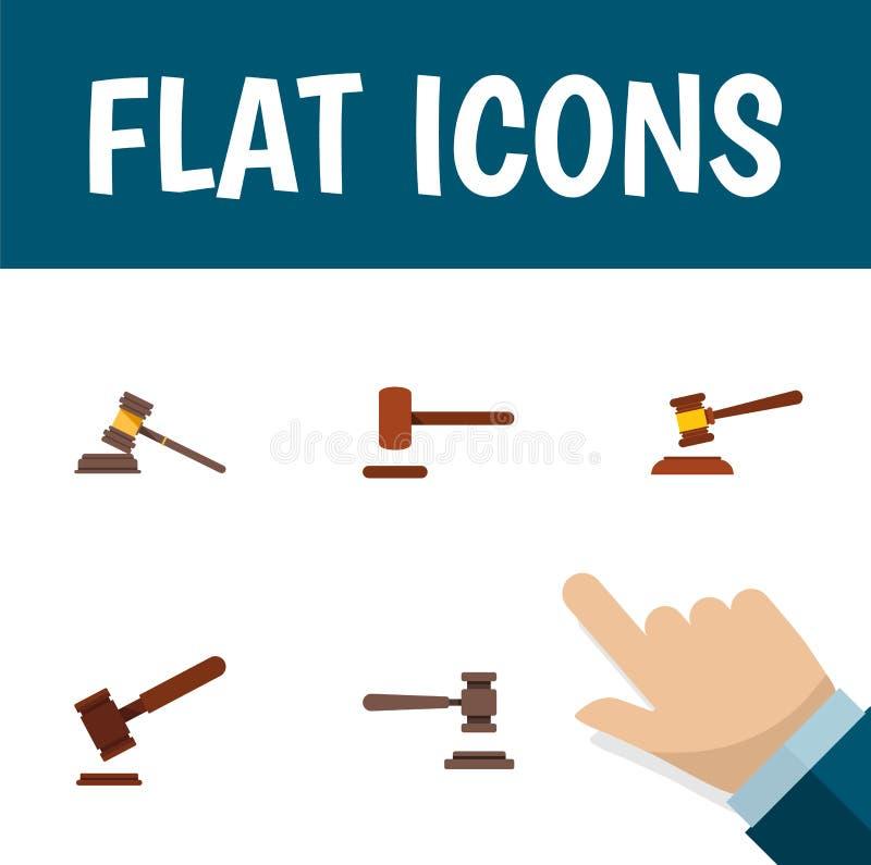 Avvocato piano Set Of Court, legale, oggetti dell'icona di And Other Vector della giustizia Inoltre comprende la legge, la difesa illustrazione di stock