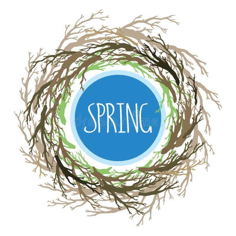 Avvolga con i rami di albero, il nido dell'uccello, simbolo della casa illustrazione di stock