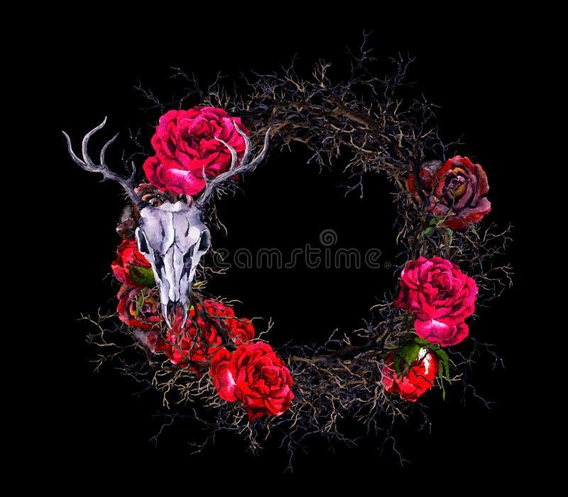 Avvolga con il cranio del ` s dei cervi, le rose rosse, rami Confine dell'acquerello per Halloween immagine stock libera da diritti