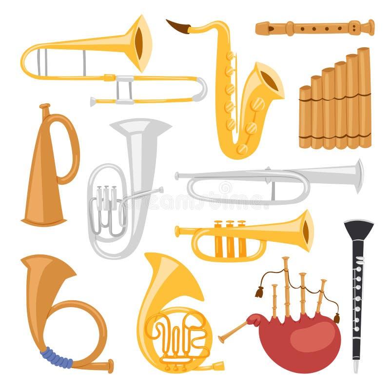 Avvolga gli strumenti degli strumenti musicali isolati sull'illustrazione acustica di vettore dell'orchestra dell'attrezzatura de royalty illustrazione gratis