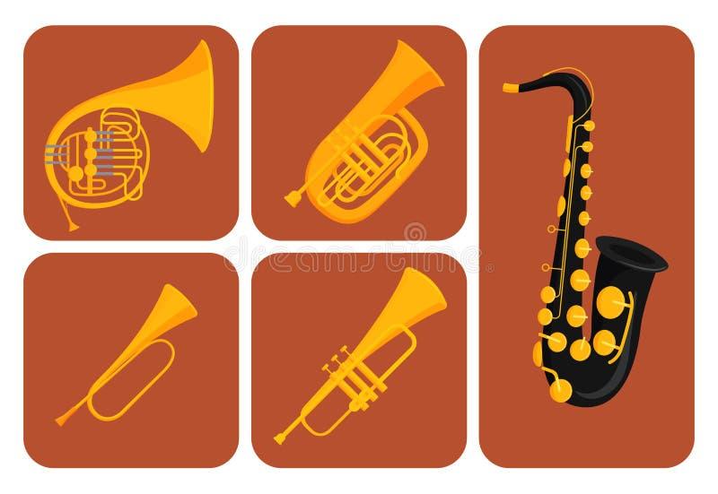 Avvolga l'illustrazione acustica di vettore dell'orchestra dell'attrezzatura del musicista degli strumenti delle carte degli stru illustrazione vettoriale