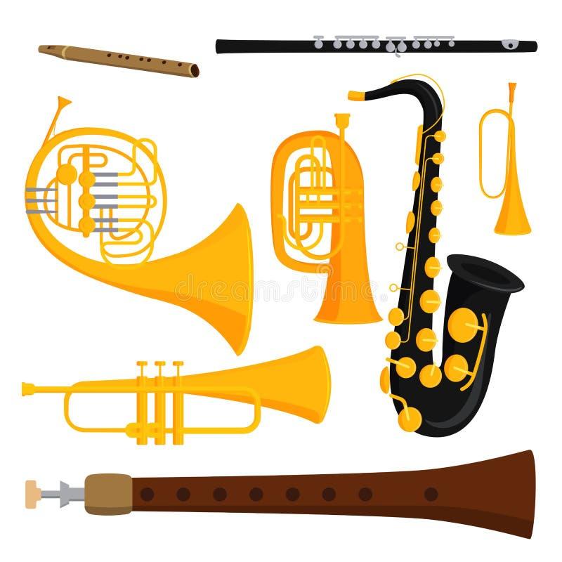 Avvolga l'illustrazione acustica di vettore dell'orchestra dell'attrezzatura del musicista degli strumenti degli strumenti musica royalty illustrazione gratis