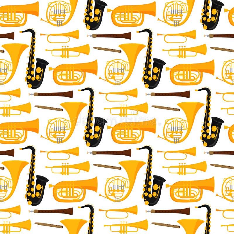 Avvolga l'illustrazione senza cuciture di vettore del fondo del modello del musicista degli strumenti degli strumenti musicali de royalty illustrazione gratis