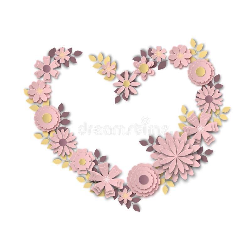 Avvolga sotto forma di cuore fatto dei fiori delicati di rosa pastello nello stile di arte di carta illustrazione vettoriale