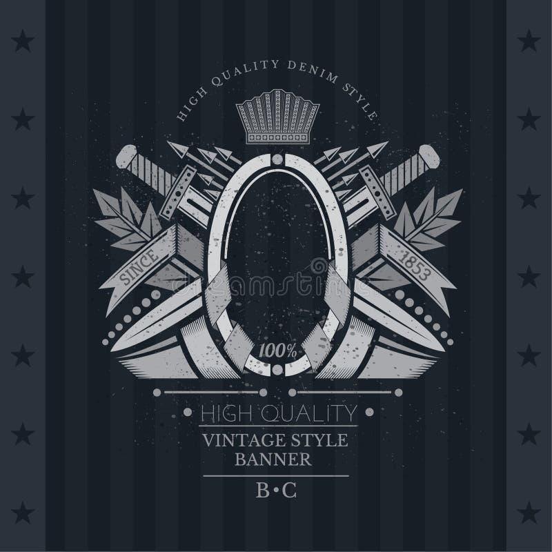Avvolgimento dei nastri del telaio ovale nel centro fra le armi d'annata Etichetta d'annata con la stemma royalty illustrazione gratis