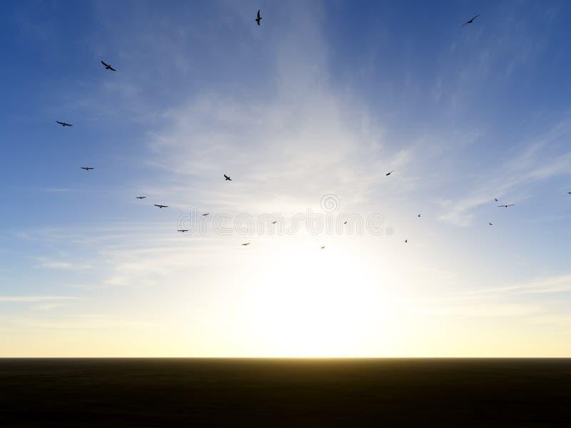 Avvoltoi di circonduzione illustrazione di stock