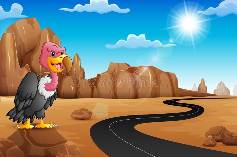 Avvoltoio del fumetto su roccia con la strada vuota nel deserto illustrazione di stock