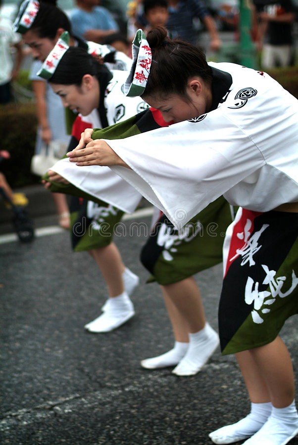 Awa Dance /Awa Odori. Awa odori is part of the Bon festivities, which are held to welcome one's ancestors back to this world for a few days. Though Bon dances royalty free stock image