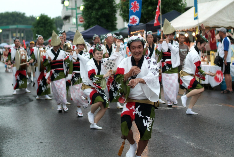 Awa Dance /Awa Odori. Awa odori is part of the Bon festivities, which are held to welcome one's ancestors back to this world for a few days. Though Bon dances stock photo