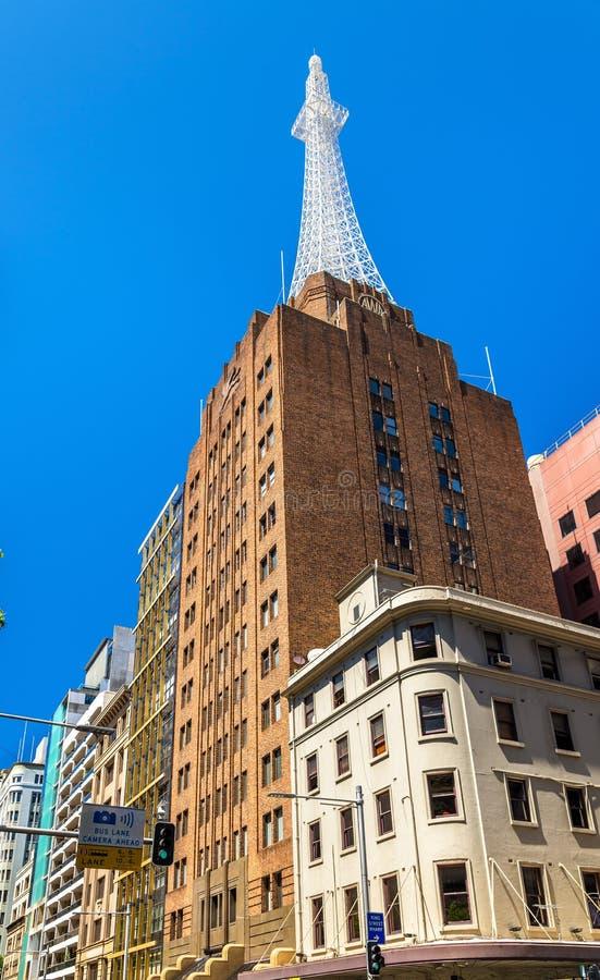 AWA Tower är ett kontor och kommunikationer som är komplexa i Sydney Byggt i 1939 royaltyfria bilder
