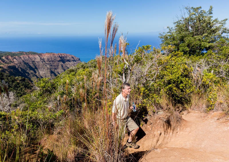 Awaawapuhi trail end on cliff above Na Pali coast on Kauai. Senior male hiker on Awa`awapuhi trail from Koke'e State Park to Na Pali coast overlooking Pacific stock image