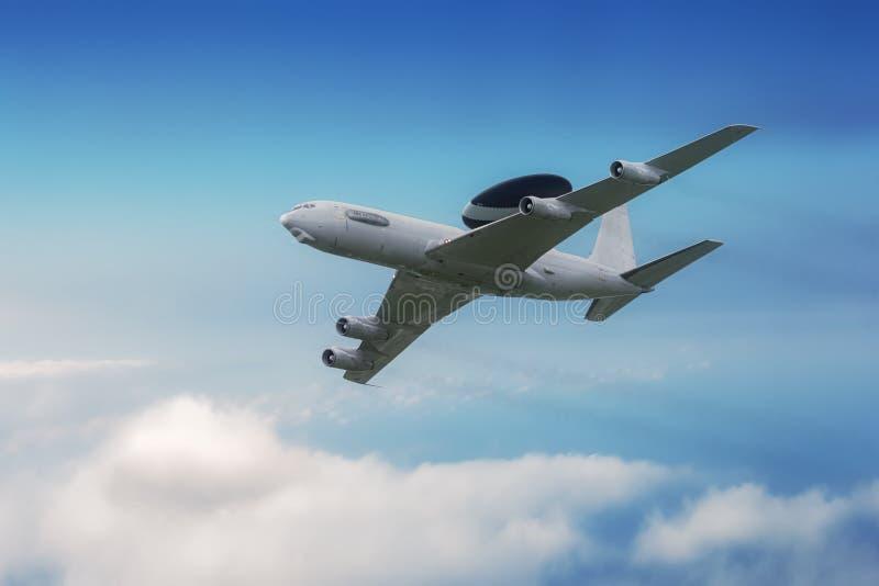 AWACS aircraft in flight royalty free stock photo
