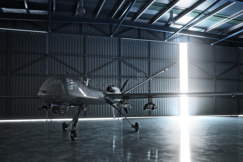 Awaiting flight. Lone drone U.A.V aircraft awaiting a military mission in a hanger. 3d model scene stock illustration