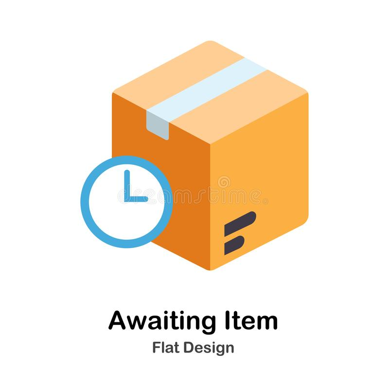 Awaiting Item Flat Icon. Awaiting Item Icon In Flat Color Design Vector Illustration stock illustration