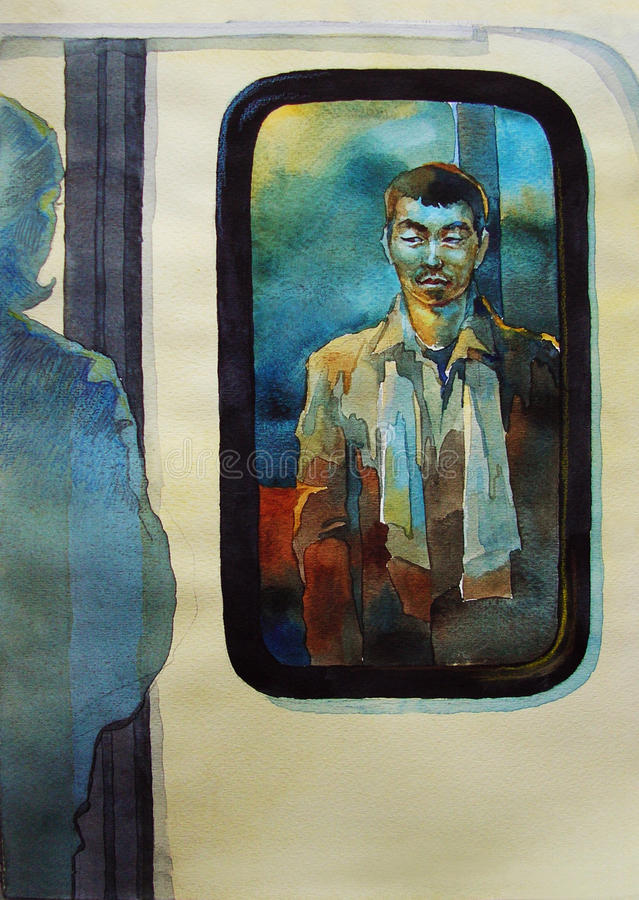 Awaiting man in a subway original watercolor illustration. One look inside the metro vagon to the station stock illustration