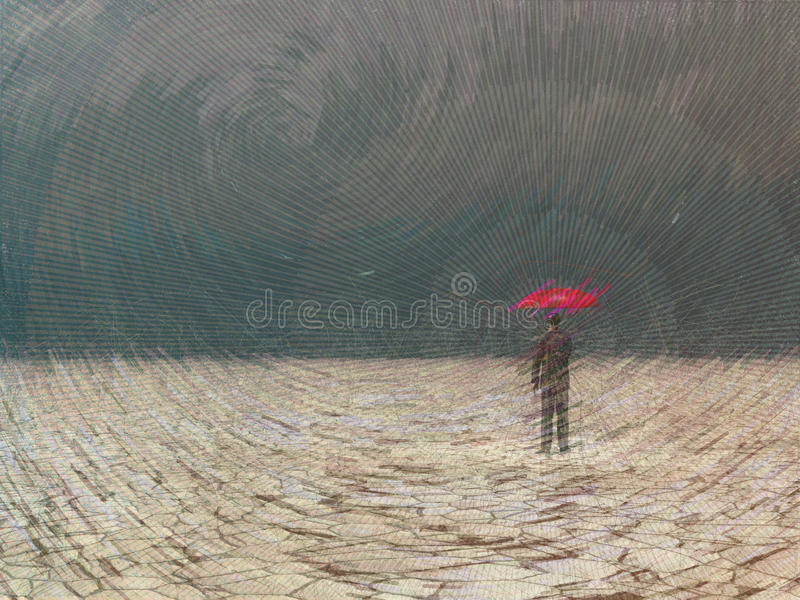Awaiting storm. Surreal digital art. Man with red umbrella in dry land under gathering storm stock illustration
