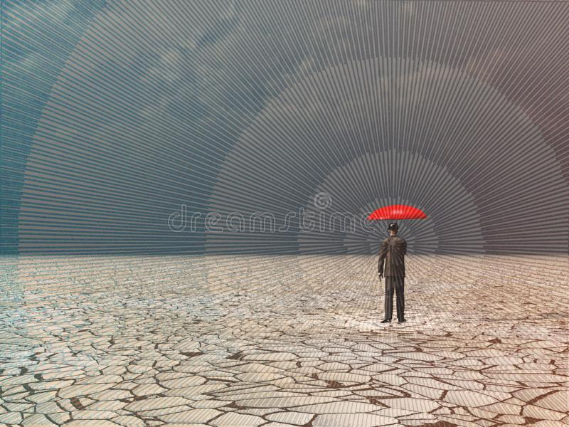 Awaiting storm. Surreal digital art. Man with red umbrella in dry land under gathering storm. Human elements were created with 3D software and are not from any royalty free illustration