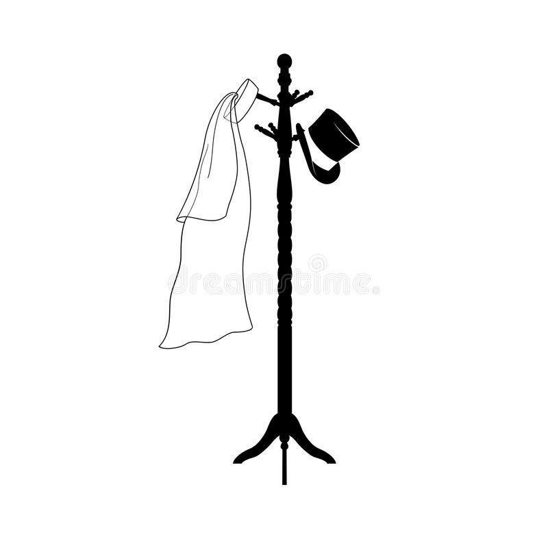 Awaiting the Wedding. A man's top hat and a bridal veil hang gracefully on a coat stand, ready to be worn at a wedding royalty free illustration