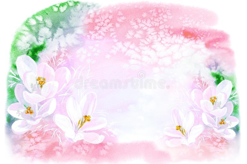 Awakening of nature watercolor art, spring illustration, flowering snowdrops, light pink colors stock illustration