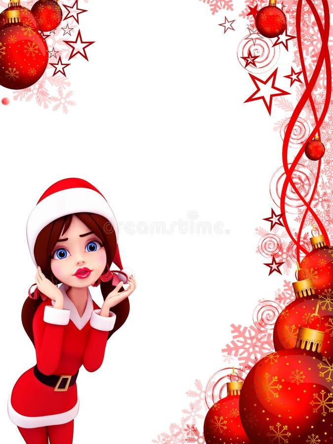 Download Awaking Santa Girl In Red Background Stock Illustration - Image: 26671374