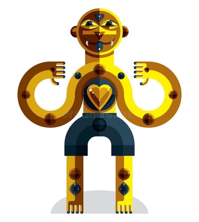 Awangardowy avatar, kolorowy rysunek dziwaczna bestia tworzył wewnątrz ilustracja wektor
