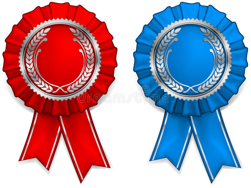 Award arms and ribbons. Award red and blue rosettes with arms and ribbons, illustration vector illustration