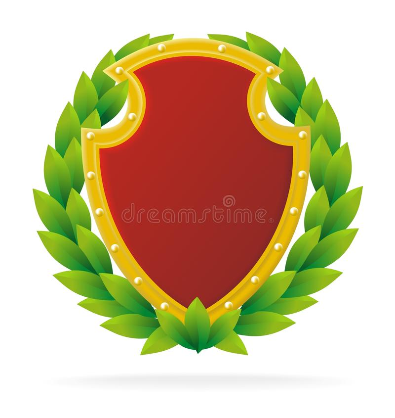 Award as ruby shield. And olive wreath, isolated on white royalty free illustration