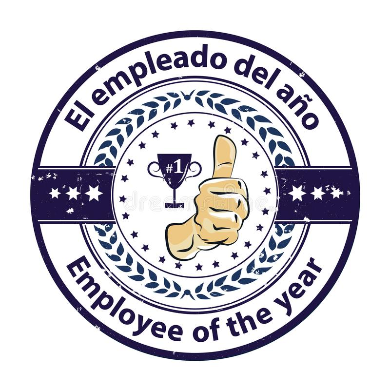 Award badge with bilingual text: Employee of the year written in Spanish and English. Business award ribbon / distinction - dark blue grunge stamp / sticker with stock illustration
