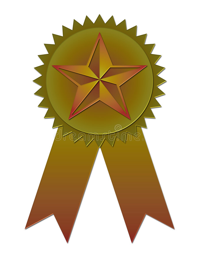 Award badge with ribbon stock illustration