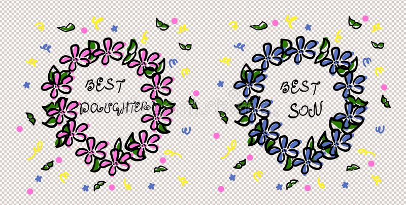 The best son and the best daughter. Sketch wreath. Careless drawing. Pink and blue flowers. Green leaves and streamers. Scribble royalty free illustration