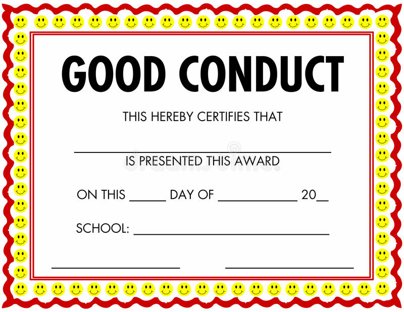 Award Certificate Good Conduct Stock Image  Image Of Achievement