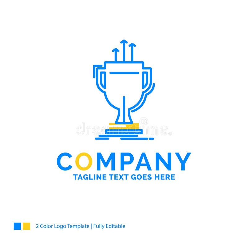 Award, competitive, cup, edge, prize Blue Yellow Business Logo t. Emplate. Creative Design Template Place for Tagline royalty free illustration