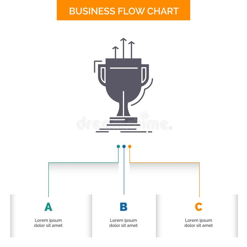 Award, competitive, cup, edge, prize Business Flow Chart Design with 3 Steps. Glyph Icon For Presentation Background Template. Place for text.. Vector EPS10 royalty free illustration
