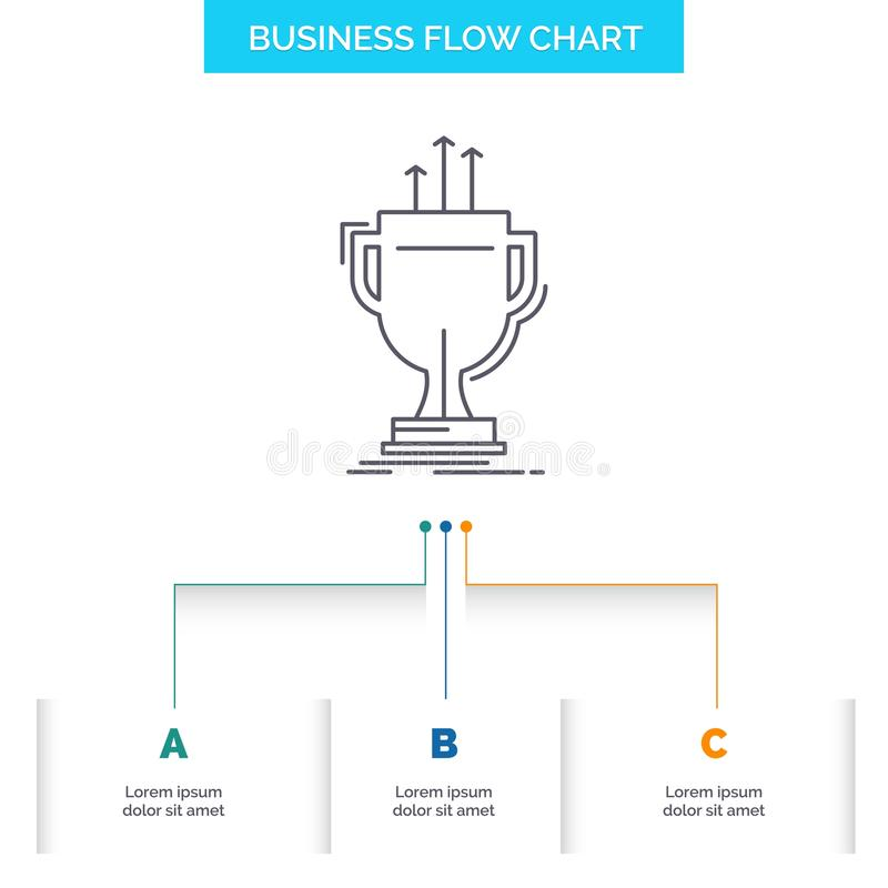 Award, competitive, cup, edge, prize Business Flow Chart Design with 3 Steps. Line Icon For Presentation Background Template Place. For text. Vector EPS10 vector illustration