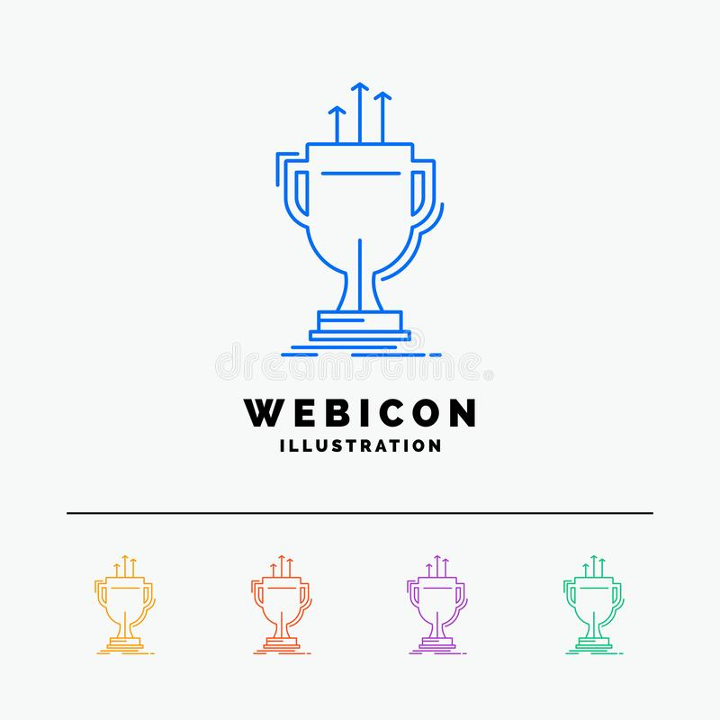 Award, competitive, cup, edge, prize 5 Color Line Web Icon Template isolated on white. Vector illustration. Vector EPS10 Abstract Template background vector illustration