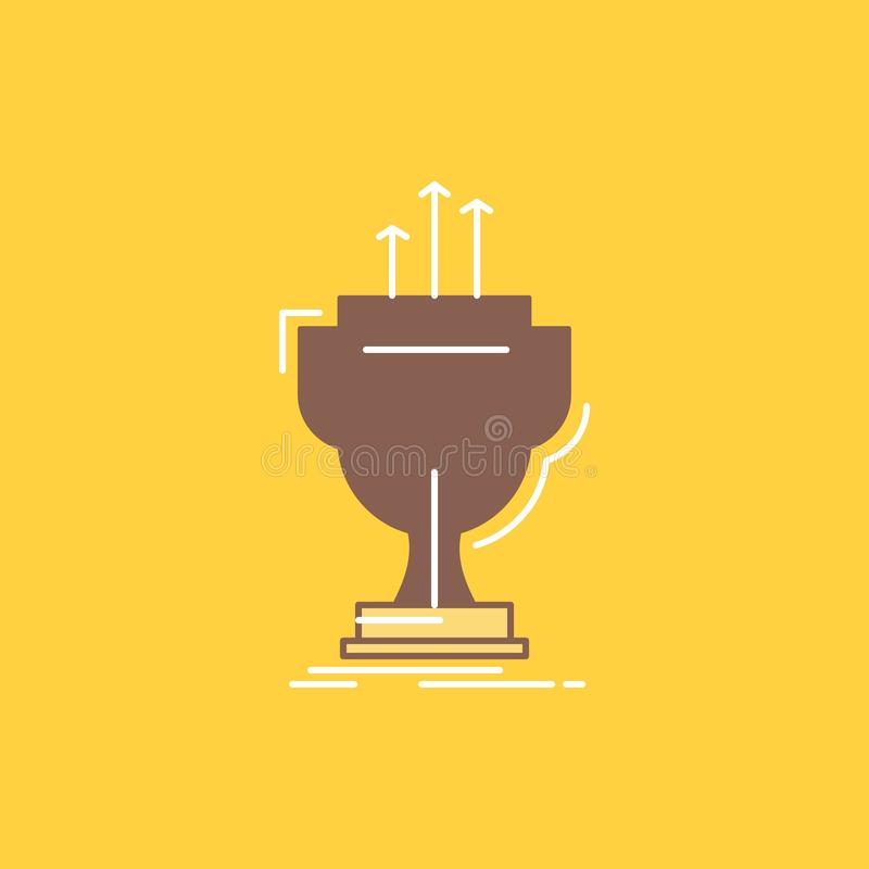 Award, competitive, cup, edge, prize Flat Line Filled Icon. Beautiful Logo button over yellow background for UI and UX, website or. Mobile application. Vector vector illustration